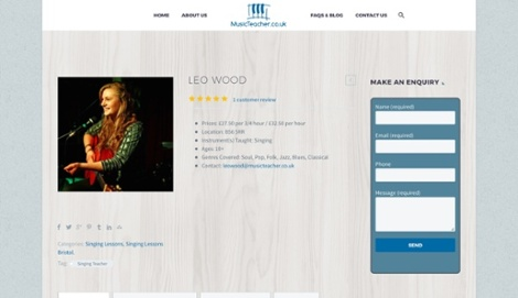 Leo Wood's Music Teacher profile, including the review that a student left about her private music tuition.